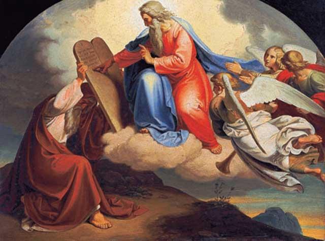 ده فرمان یهوه خدای موسی که بر روی لوح سنگی نوشته شده .