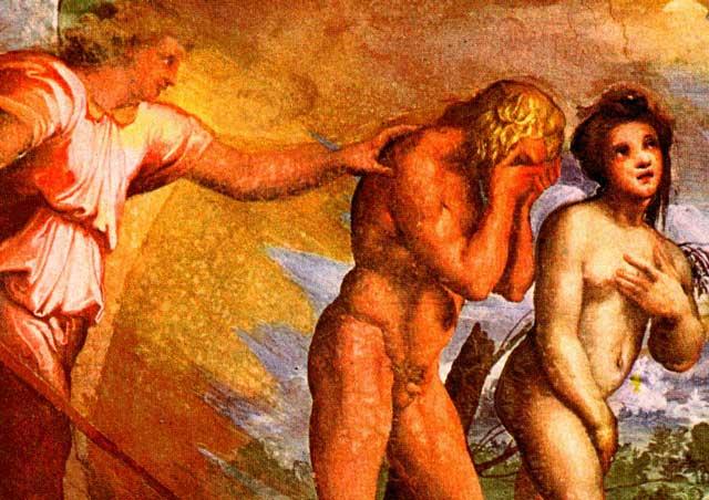افسانه کودکانه آدم و حوا که به دلیل سیب خوردن، از بهشت رانده شدند.