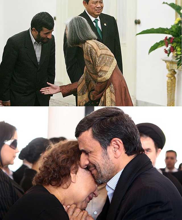 """احمدی نژاد، هنرپیشه و دلقک هزر رنگ- یک جا مسلمان است و دست دادن را حرام می داند، در جای دیگر زنی را در آغوش خود می گیرد!.با این شرایط هنگامی که احمدی نژاد می گوید """"زنده باد بهار"""" به دنبال کودتایی است مانند بهار عربی تا در قدرت بماند، و هم پالکی های خود را نیز به کار گمارد. اینجاست که ملای مشهدی ناچار است، در انتصاب ریاست جمهوری خرداد ۱۳۹۱، کوتاه بیاید، و کاندیداهای احمدی نژاد را نیز بپذیرد. در چنین شرایطی، مردم که از آخوند نفرت دارند، روی به باند احمدی نژاد می آورند. همانگونه که در انتخاب محمد خاتمی اتفاق افتاد. در غیر اینصورت، باید انتظار داشت که پاسداران با کودتایی آخوندهای رژیم را کنار زده، و خود دیکتاتوری نظامی فاشیستی به وجود آورند.پیامد ماندن خامنه ای بر سر قدرتچنانچه باند احمدی نژاد با آخوندهای سلطه طلب رژیم سرشاخ نشود، و روضه خوان مشهدی همچنان بر سر کار بماند، با ورشکست اقتصادی کنونی، کشمکش و اختلاف میان گروههای مختلف، دشمنی همسایگان عرب ایران، دشمنی ترکیه و اسرائیل با این رژیم، دشمنی دولت آینده سوریه با ایران و همدستی آن با دولت های دیگر مخالف، امکان حمله نظامی از سوی اسرائیل و با همکاری دولت های غربی، و در نهایت تجزیه ایران زیاد خواهد"""