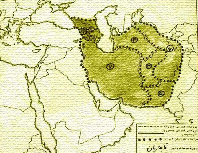 این نقشه کامل ایران در آغاز دوران قاجاریه است. شاهان بیگانه و ایران فروش قاجار، با ندانم کاری و حماقت خود و وسوسه و دخالت آخوندهای فرومایه، از شماره ۱-۶ ایران را از دست دادند و تنها قسمت شماره ۷ برای ایران به جای مانده است.