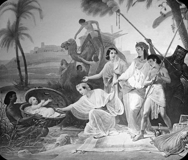 نجات موسی که در سبدی گذاشته و روی رودخانه نیل رها کرده بودند، به وسیله فرعون و خواهرش.
