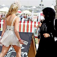 conservative-islamic-dress-and-western-skimpy-outfit-in-dubai