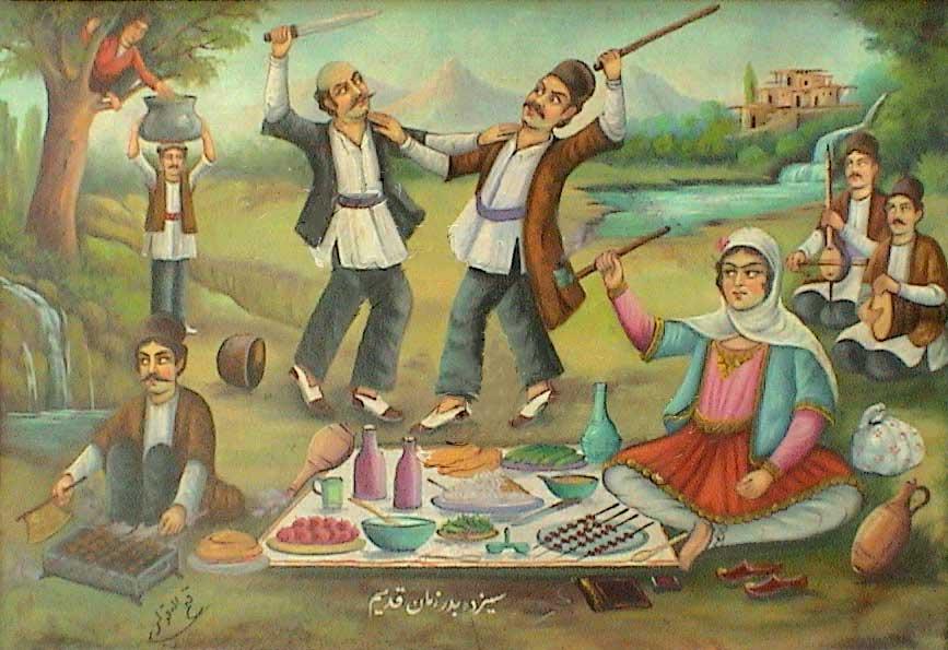 مراسم گردش سیزده در دوران گذشته تاریخ ایران، به ویژه زمان قاجاریه