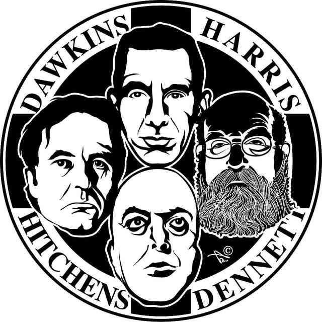 فرتور چهار سوار خداناباوری؛ ریچارد داوکینز، سام هاریس، دنیل دنِت و زنده یاد کریستوفر هیچنز را نشان می دهد.