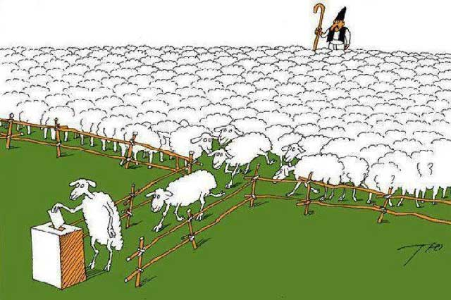 آیا ما مردم ملتی عاجز و درمانده نیستیم که گوسفند وار به صف می ایستیم و عملکرد پلید رژیم را تأیید می نماییم؟. آیا ما ملتی سبک مغز و بی خرد نیستیم که این چنین به عجز و بیچارگی افتاده ایم؟!.