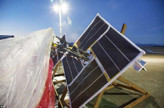این صفحات بزرگ، برای جذب انرضی خورشیدی بر روی بالون نصب شده است. با گرفتن انرژی خورشیدی دستگاه گیرنده و فرستنده بالون به کار خود ادامه می دهد.و احتمالن از آنچه برای ما روشن نیست شاید دستگاه کنترل کننده ای بر روی آن سوار باشد که از روی زمین با فرستادن امواج، آنچنان که بخواهند بر روی آن برنامه ریزی کنند و یا برنامه های آن را تغییر دهند.
