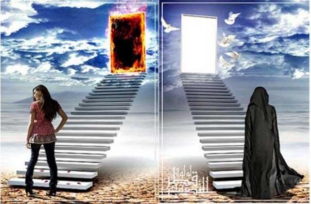 خداباوران، برای پاداش شر دیدگان، شر کنندگان، بهشت و دوزخی خیالی را پیش بینی کرده اند که هرکدام در جداگانه ای دارد و انسان های شر دیده و شر کننده در جهان به ترتیب درب های ورودی بهشت و جهنم را انتخاب می کنند.