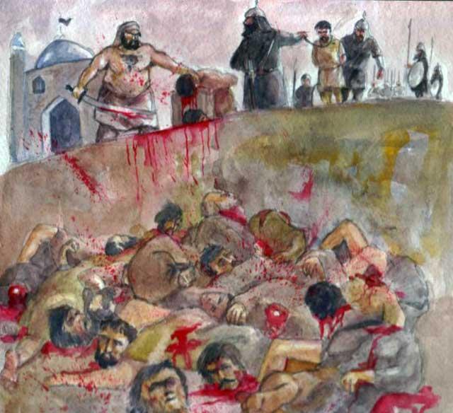 در فرتور علی ابن ابوطالب را در حالی که مشغول به گردن زدن یهودیان بنی قریظه می باشد را می بینید. علی در آن روز هفتصد نفر را از دم تیغ گذراند. در ایران جنایتی صدها بار خونبار تر از کشتار یهودیان بنی قریظه به دست تازیان وحشی رخ داد و در طی حمله اعراب صد ها هزار تن از ایرانیان به دلیل نپذرفتن اسلام قتل عام شدند. نظیر این جنایت ها را سربازان اسلام بارها و بارها در سرتاسر ایران انجام دادند و هم اکنون نیز مزدوران رژیم در زندان هاو سراسر کشور اجراء می کنند.
