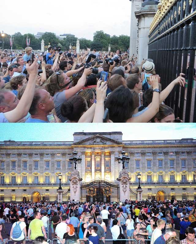 مردم بیکاره و بی باره، و توریست های سرگردان، در هوای داغ و استثایی لندن  جلو کاخ سلطنتی ساعت ها ایستادند تا خبر تولد نوزاد سلطنتی را دریافت کنند.