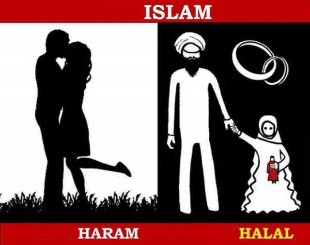 در اسلام، تجاوز به دختر بچه ۷-۸ ساله حلال است، ولی ارتباط انسانی و مالامال از عشقو دوستی میان یک مرد و زن، گناه و معصیت است. البته همه زنان عالم برای آخوند حلال و محرمند. زیرا زنبارگی آخوند را نمی توان در هیچ حیوان دیگر سراغ گرفت.