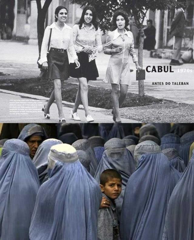 مقایسه کنید، در بالا زنان افغان پیش از اشغال افغانستان به وسیله طالبان، و در پایین تصویر زنان افغان در دوره طالبان است. به راستی اسلام چگونه می تواندانسان ها را به دربرد و مسخ کند!.