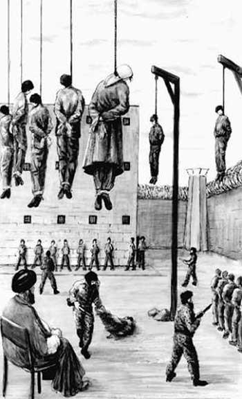 این نگاره تصویر ذهنی بسیار خوبی از کشتارگاه های رژیم در سال های دوران طلایی که جناب موسوی همواره از آن دم می زدند به ما می دهد. چیزی که هیچ گاه برای دست اندرکاران رژیم اسلامی کوچک ترین اهمیتی نداشته جان آدم ها بوده است. کشتار و قتل عام دسته جمعی زندانیان سیاسی و دگراندیشان در تابستان سال 1367 به فتوای خمینی و در زمان نخست وزیری میر حسین موسوی، قتل عام بیش از 4500 نفر در یک هفته. چیزی که نمونه اش را تنها شاید بتوان در سال های تیره و تار قرون وسطی یا حکومت های فاشیستی مانند نازی دید.