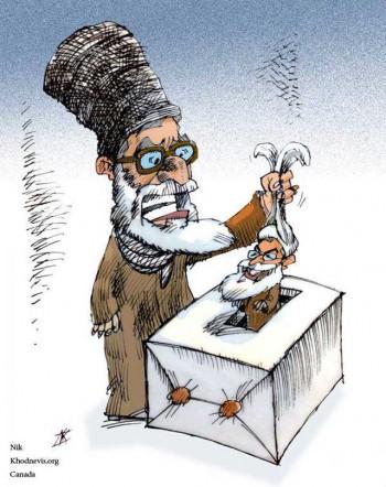 ملای مشهدی، روضه خوان ۵ تومانی با دست چپ مبارک، جناب حاج دکتر حسن روحانی کلید نشان ساخت انگلیس را  وارد صندوق می کند.