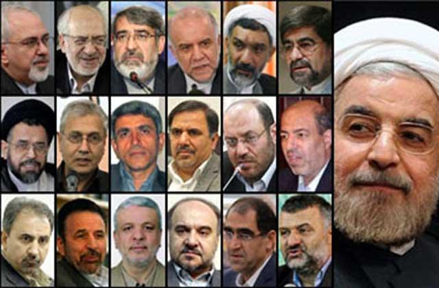 این کابینه روحانی است. کابینه ای که افراد آن کمترین بدهکاری به ملت ایران در خود احساس نمی کنند، ولی خود را سرسپرده و مطیع و فرمانبردار خامنه ای جنایتکار می دانند.