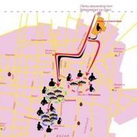 این نقشه اشغال بخش هایی از تهران به وسیله مزدوران، آدم کشان، و لات های میدان مانند طیب و طاهر حاج رمظان، حسین و نقی اسماعیل پور، محمود مسگر، بیوک صابر به رهبری شعبان جعفری است که هرکدام با دسته های همراه خود در نقطه ای موضع گرفته اند. کسانی که در قلع و قمع هواداران مصدق شرکت داشتند. نقشه از اداره اسناد سازمان سی آی ای