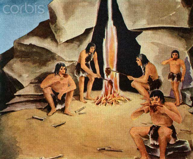 زندگی غار نشینی انسان اولیه، شکار حیوانات برای خوراک و استفاده از پوست آنان برای پوشش و گرمی خود.