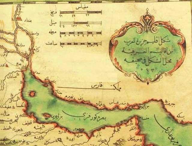 در این نقسه قدیمی که به زبان عربی است، محل بندر سیراف که شهری بسیار تاریخی بوده، دیده می شود.