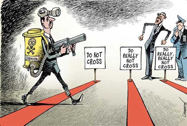 گویا اوباما به خط کشی خیلی علاقه دارد. انهم کشیدن خط قرمز. اگر از خط ها گذشتید، نگران نباشید بازهم خط های قرمز دیگر ادامه دارد. زیرا این خط کشی را پایانی نیست. شاید عده ای مانند خامنه ای و رفیق هم کشتار او بشار اسد  عادت دارند همه عمر از روی خط قرمز عبور کنند!.