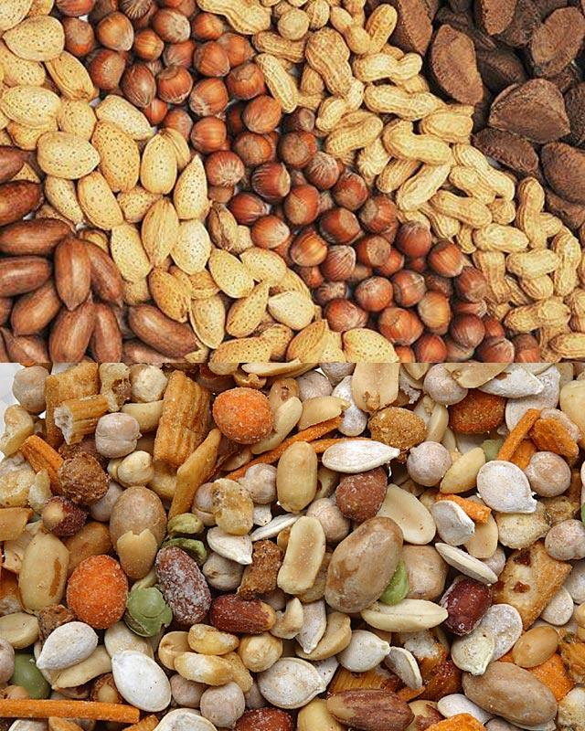 در دو تصویر بالا شماری از آجیل های مفید که از چاقی جلوگیری می کند و میزان سکته قلبی را کاهش می دهد دیده می شود.