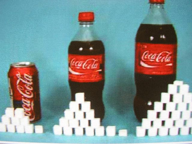 با نوشیدن یک قوطی کوکاکولا ما ناخواسته و بدون آن که نیازی باشد ۳۵ گرم یا ۶ قاشق چای خوری شکر وارد بدن خود می کنیم.