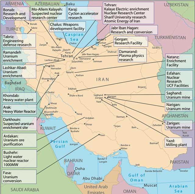 این نقشه سایت های هسته ای ایران را نشان می دهد که به زودی فعالیت شان محدود و ناچیز خواهد بود.