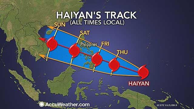 مسیر نقاطی  که دچار این توفان شده   در این تصویر دیده می شود. این توفان ادامه داشته و به سمت ویتنام در حال پیشروی است.