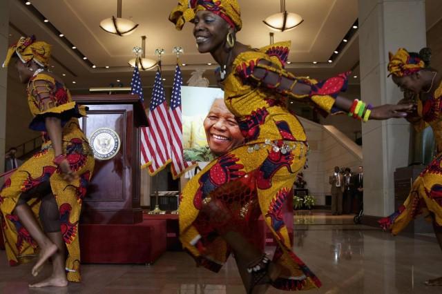 جشن ۹۵ سالگی تولد نلسون مندلا که از سوی کنگره آمریکا به افتخار او در ژوئن گذشته در واشنگتن برگزار شد.