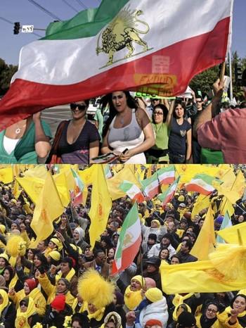 در این دو فرتور، طرفداران رژیم شاهنشاهی و طرفداران مجاهدین دیده می شوند. هریک از گروههای سیاسی در بیرون کشور به صورت  تک رو عمل می کنند، و احیاناً گاهی با کینه توزی و دشمنی بایکدیگر برخورد می کنند که ریختن آب به آسیاب رژیم جهل و جنایت ولایت وقیح است.