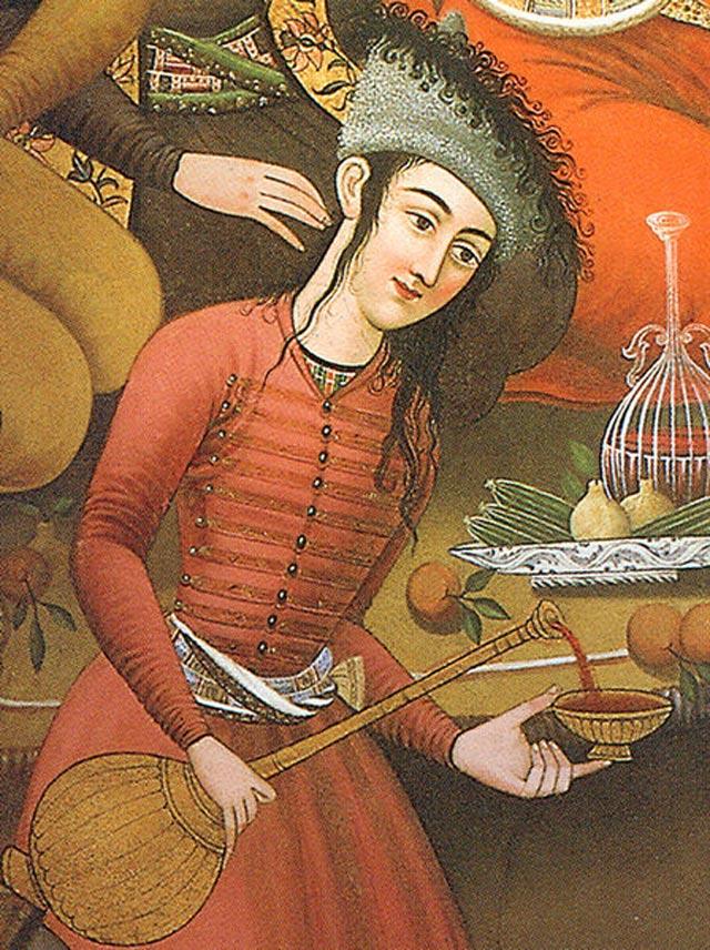 تصویری از یک ساقی شراب که برای چهل ستون کشیده شده است.