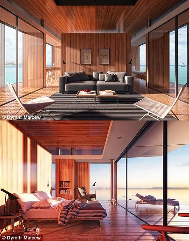 اطاق ها به روشی طراحی و ساخته شده که می توان دیوارها را جابه جا کرد تا اطاق ها کوچک و بزرگ شوند و همچنین با بستن و باز کردن بخش هایی از دیوارها می توان میزان نور دریافتی و روشنایی و دید افراد کنار ساحل را زیاد و کم نمود.