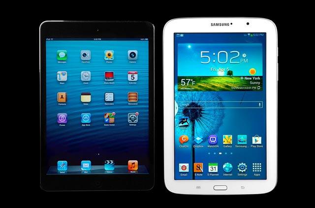 ( سامسونگ با تولید تبلتهای قدرتمند و برخورداری از تکنولژی بالا سهم خود را در بازار افزایش داده است)