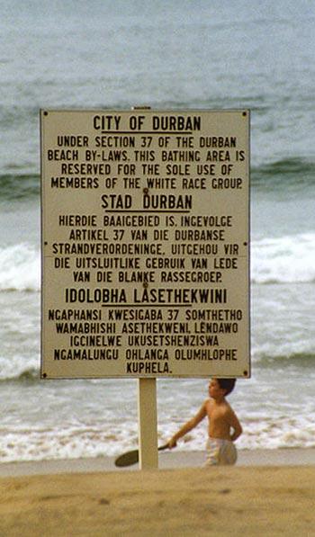 رژیم سپید پوست آفریقای جنوبی که عمومن از مهاجرین و متجاوزین اروپایی بودند مانند تازیان که به ایران یورش آوردند، بر جان و مال و ناموس مردم تسلط داشتند و کشور آفریقای جنوبی با داشتن معادن گرانبها را مانند ارث پدری اشان میان خود تقسیم نمودند. رفتار آنان با سیاه پوستان آفریقا شبیه و مانند رفتار تازیان با مردم ایران بود. آنان حتی پیاده روها، شیرهای آب خوردنی، و استفاده از ساحل دریا را به دو بخش سیاه و سپید تقسیم نمودند. به طوری که سیاه پوستی اجازه نداشت از پیاده رو خاص سپید پوست ها گذر کند و یا در ساحل اختصاصی سپید پوستان حرکت نماید.