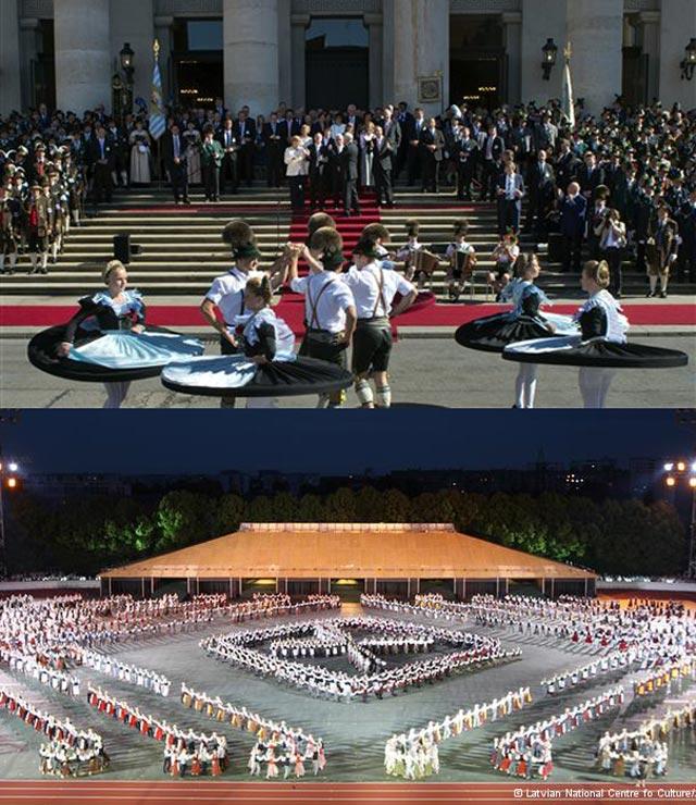 در بالا جشن هماهنگی و ملی در آلمان و در پایین جشن ملی و مردمی در لاتویا Latvia دیده می شود. هر کشور و هرملتی دارای جشن ملی و مردمی هستند سوای ایران آخوند زده و مصیبت دیده که همه چیز را پشت سر گذاشته و به دنبال تازیان جنایتکارند.
