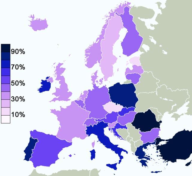 (این نمای کشورهای اروپا و درسد خدا باوران آن است. می بینیم که بیشتر کشورهای امن و کم مشکل غرب کمتر از 50 درسد به خدا باور دارند.)