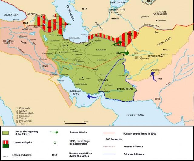 (قسمتهای هاشور خورده آخرین پاره های جدا شده ایران توسط روسیه در دوره قاجار است)