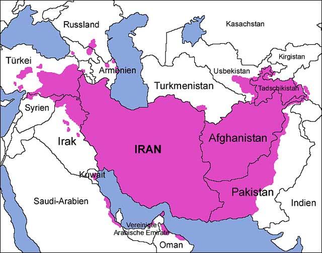 (این نقشه مردم ایرانی زبان را نشان میدهد که از مرز چین تا سوریه پراکنده هستند ولی بخاطر بی لیاقتی مردم ایران در حال فراموش شدن هستند و گروه بسیاری فرهنگ هزاران ساله را در یک سده فراموش کردند)