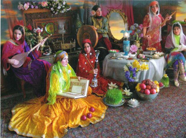 جشن نوروز در ایران و افغانستان و شماری از کشورهای دیگر. به عنوان نخستین روز سال، و یا نخستین روز فصل بهار.