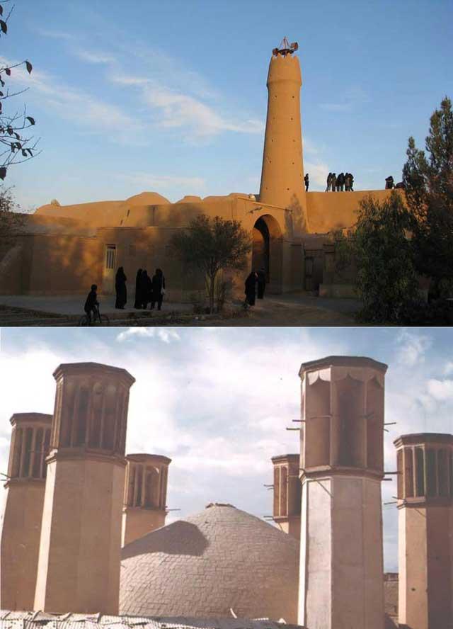 Right- در سمت راست قدیمی ترین مسجد ایران، Left- در سمت چپ، آب انباری با ۶ بادگیر تنها نمونه در جهان، که در روزگار گذشته پیش، آب را خنک و قابل نوشیدن در گرمای سوزان تابستان می ساخته است.