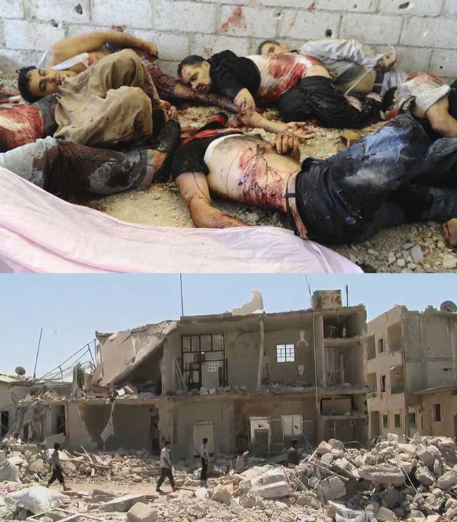 این دو تصویر به خوبی نمایانگر جنایات غرب و شرق، به ویژه ایران و عربستان سعودی و روسیه در سوریه است. زبان از گفتن شرح آن عاجز است.