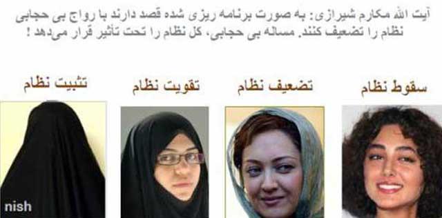 (حجاب به سمبل تضعیف رژیم نکبت اسلامی بدل شده است. براستی مردان و زنان باید خرقه ی ریا از تن بدر کنند و با دهن کژی به آخوند این رژیم را به پایان سلطه ی اسلام برسانند)