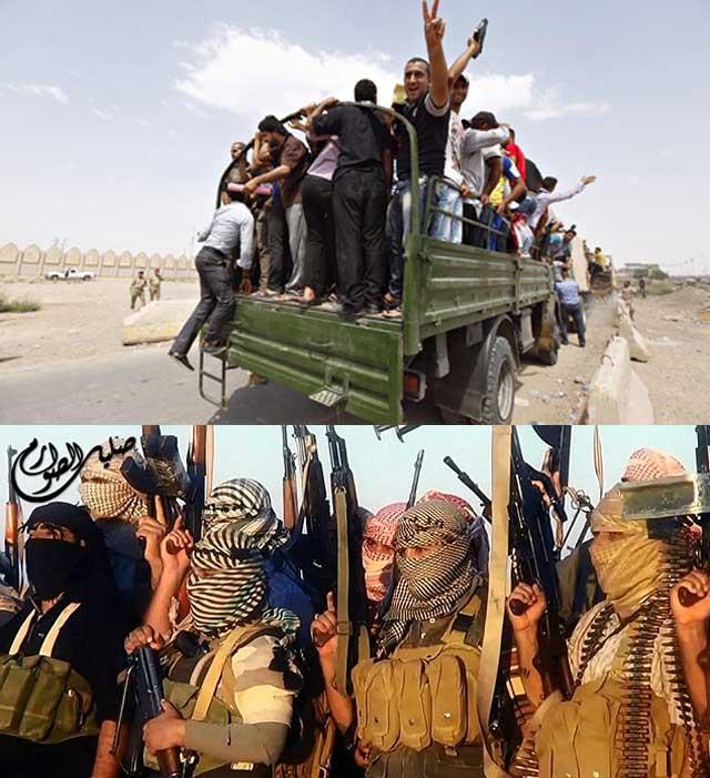 گروههای فناتیک انگلیس در حال رفتن به عراق در بالا، داوطلبانی در عراق در حال رفتن به جنگ و مبارزه با گروه داعش می باشند. در پایین، مسلمان های افراطی از انگلیس روانه جنگ در عراقند.