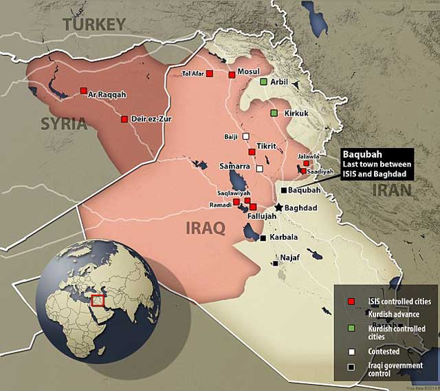 مناطقی از عراق که تا نزدیک مرز ایران که به تصرف داعش در آمده. رژیم حاکم بر این باید بسیار دقیق و هوشیار باشد تا چنانچه این جانوران به مرزهای ما نزدیک شدند، آنان را به سزای خود برساند و نه این که مانند نوری المالکی بی عرضگی از خود نشان دهد.