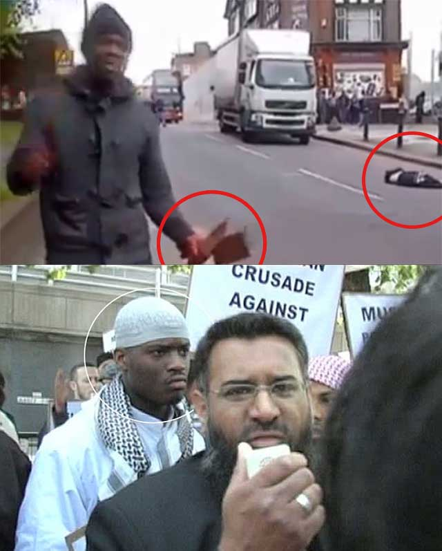 این جانور مسلمان، قاتل سرباز انگلیسی است! او در جنوب لندن، با ساطور و چاقو، سر یک سرباز انگلیسی را گوش تا گوش برید و روی سینه اش گذاشت! سیاست غلط دولتمردان اروپایی، تراژدی های بیشتری را رقم خواهد زد.