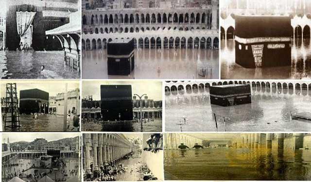 این عکس ها متعلق به سال ۱۹۴۱ میلادی برابر با۱۳۲۰ شمسی می باشد. همانطور که مشاهده می کنید, سیل مکه را فراگرفته و خدای مکه عاجز از محافظت از خانه خود بوده. . کعبه در سال ۱۳۷۷قمری به فرمان سعود و فهد بن عبدالعزیز مورد تعمیرات کامل قرار گرفت. سوال اینجاست که چرا خانه ای که قرآن قول محافظت از ان بوسیله الله داده شده. احتیاج به تعمیر و مرمت داشته است؟.