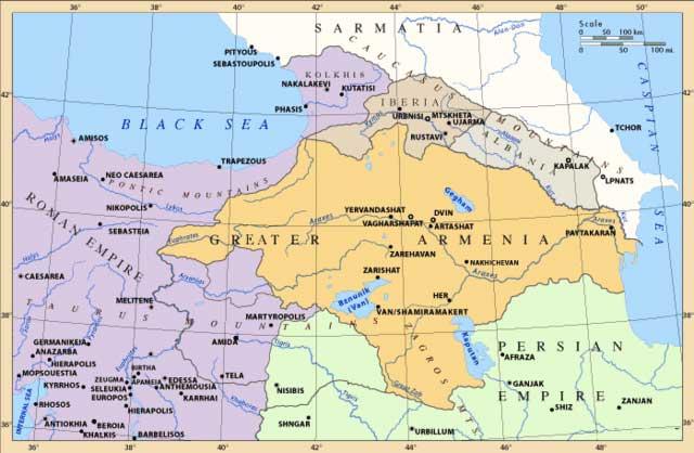 (پادشاهی ارمنستان برای سده ها بعنوان یک ساتراپ ایران بود ولی بروز مسیحیت باعث جنگهای بسیاری شد که در نهایت با تقسیم این پادشاهی میان ایران و روم بافت مذهبی و قومی آن برای همیشه تغییر کرد که حمله عثمانی به ایشان در سده گذشته آخرین مرزهای ارمنستان را نیز به ترکیه ضمیمه کرد و امروز با تاسف قسمت کوچکی از ارمنستان باقیست)