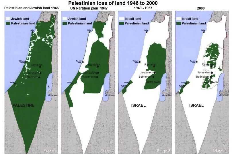 (این نقشه فرضی نشان می دهد که به مرور ژمان، مفهومی بنام سرزمین فلسطین مبهم و غیر قابل دسترسی شده است. پرسشی که همواره می توان پرسید : اگر نام اسرائیل فعلی را فلسطین بگذارند... چقدر از مشکلات حل خواهد شد؟ به گمانم نیمی !)