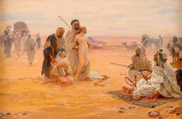 فرتور لحظه غم انگیز و ترسناک فروش زنان و دختران ایرانی در بازارهای برده داری مدینه توسط سران اسلام را نشان می دهد، ما تا کی باید به این بیابان گردان باج دهیم؟