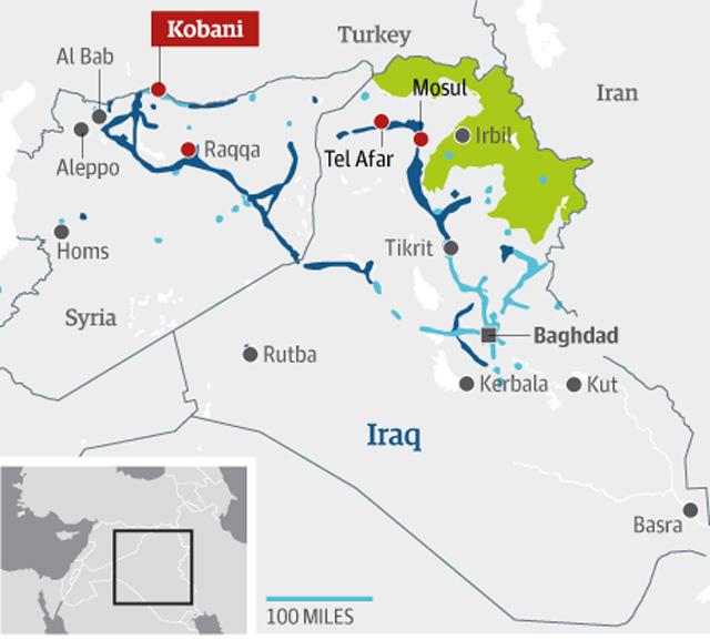 در این نقشه موقعیت شهر کوبان که در مرز ترکیه قرار گرفته شده نشان می دهد. دولت ترکیه گویا با داعش همکاری داشته و به جای آن که به یاری درماندگان کوبانی برسد و شر داعش را از سر آنان خلاص کند، نفت های دزدیده شده سوریه را از داعش به بهای ارزان خریداری می کند.