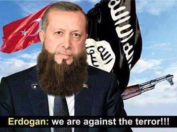 اردوغان را به دلیل تبانی و همکاری با داعش، کوتاهی در حمایت و پشتیبانی مردم مصیبت زده کوبانی و خرید نفت ارزان دزدیده شده از سوریه به وسیله داعش، او را هم داعشی می دانند که همه ویژگی های انسانی را به کنار گذاشته است.