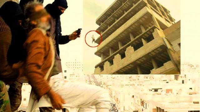 این تصویر پرتاب مرد ۵۵ ساله همجنس گرا از طبقه هفتم ساختمان است. جنایتی که به عنوان اسلام نام محمدی بارها، و بارها، تاکنون تکرار شده است.